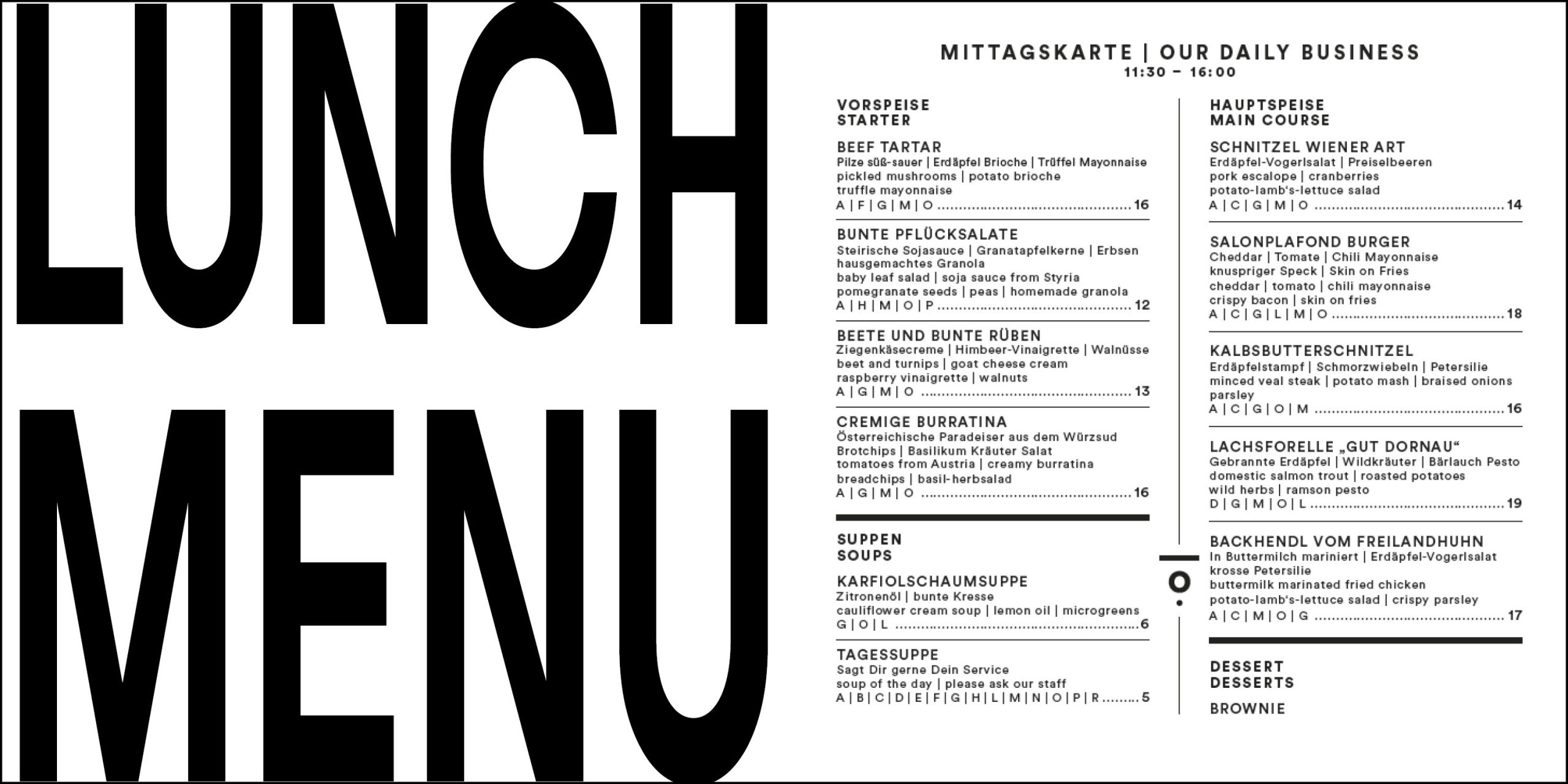 Lunch Menu from Salonplafond