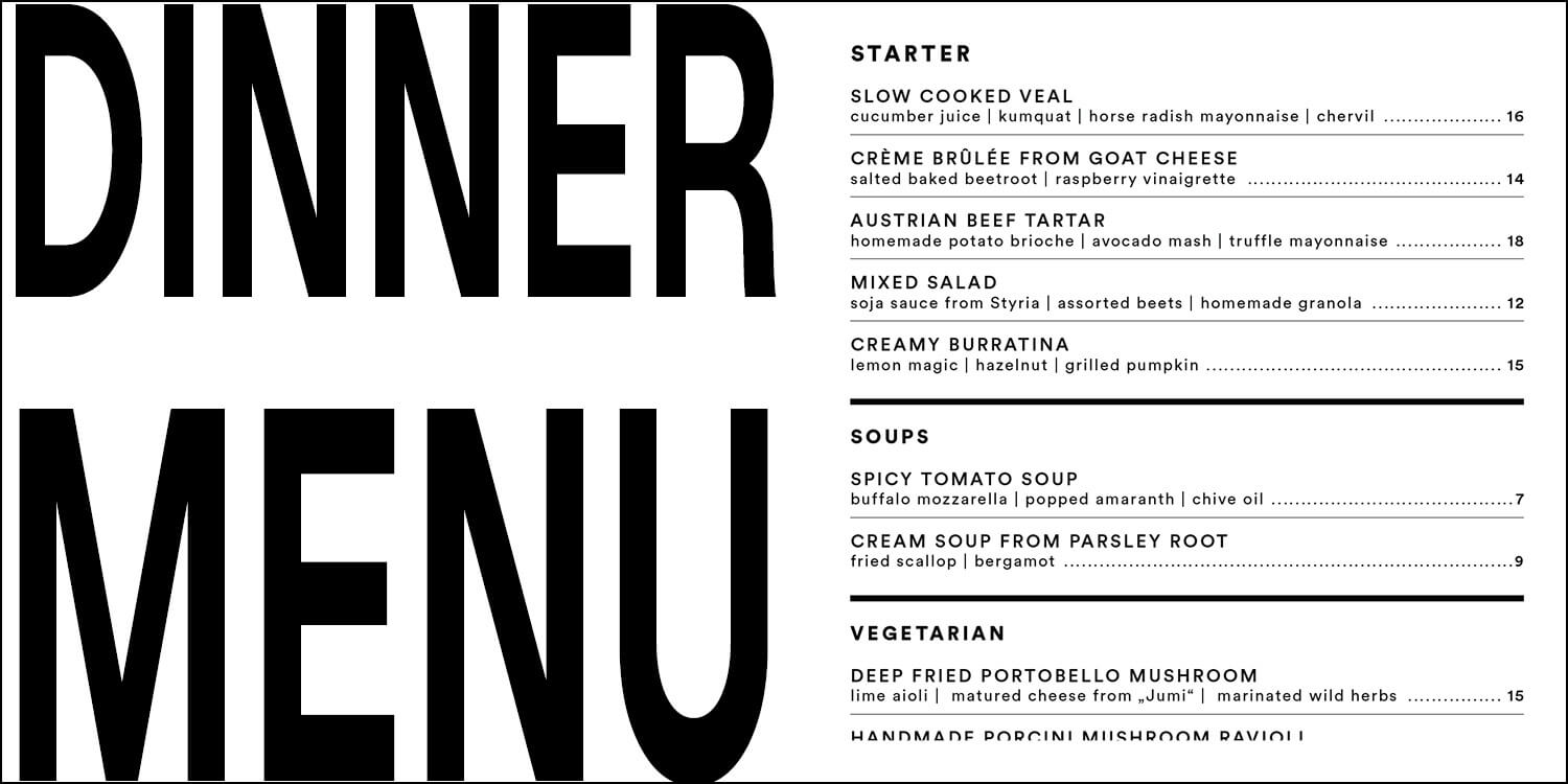 Dinner Menu from Salonplafond